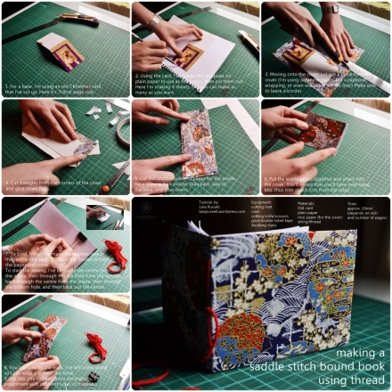 Tutorial on how to make a saddle-stitch book with thread.