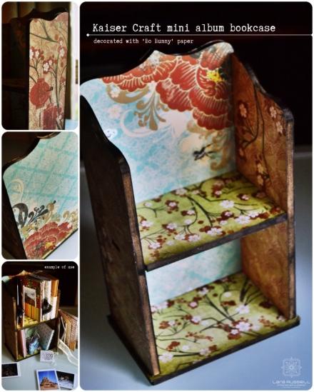 mini album bookcase decorated with Bo Bunny paper