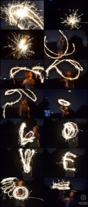 Collage of images with sparkler.