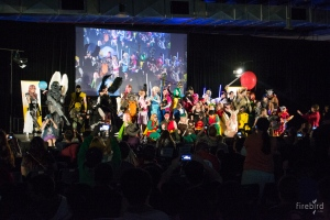 Cosplay comp. everyone on stage
